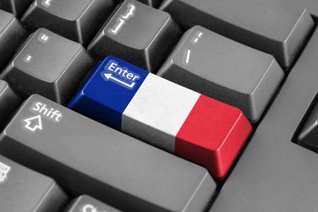 enter button: Enter button with France Flag Stock Photo