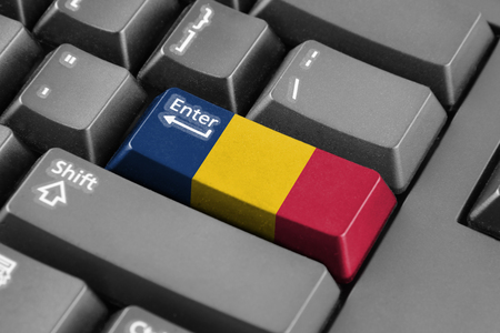 chad flag: Enter button with Chad Flag Stock Photo