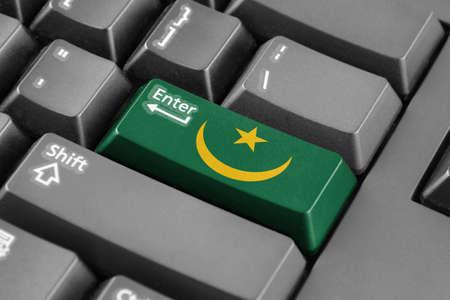 enter button: Enter button with Mauritania Flag Stock Photo