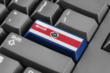 bandera de costa rica: Botón Enter con la bandera de Costa Rica Foto de archivo