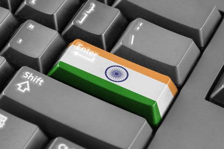 stock market: Enter button with India Flag Stock Photo
