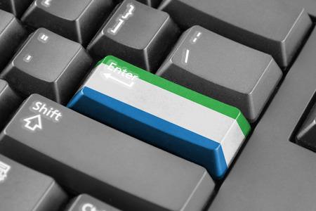 sierra leone: Enter button with Sierra Leone Flag Stock Photo