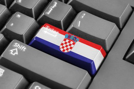 bandera croacia: entra en el bot�n con la bandera de Croacia Foto de archivo