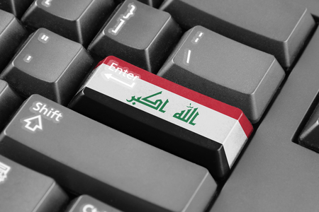 iraq flag: Enter button with Iraq Flag Stock Photo