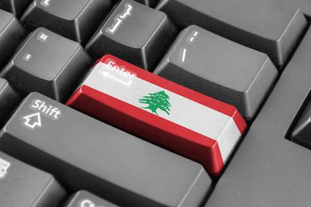 lebanon: Enter button with Lebanon Flag