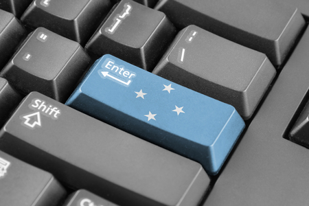 micronesia: Enter button with Micronesia Flag Stock Photo