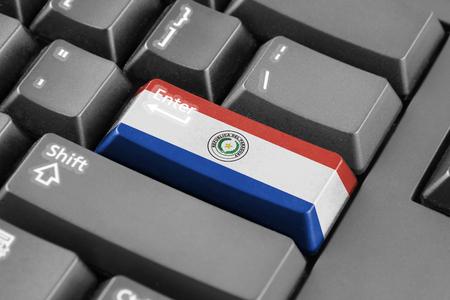 bandera de paraguay: Bot�n Enter con la bandera Paraguay
