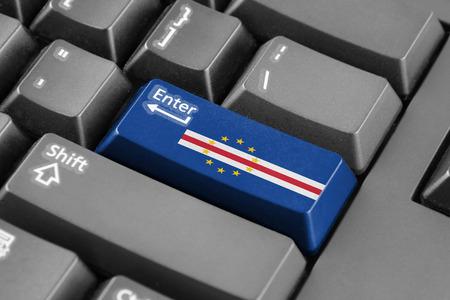 cape verde: Enter button with Cape Verde Flag Stock Photo