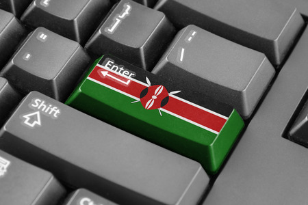 kenya: Enter button with Kenya Flag Stock Photo