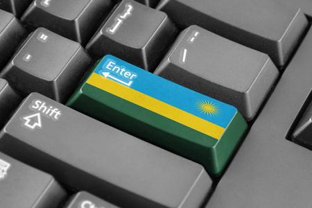rwanda: Enter button with Rwanda Flag Stock Photo