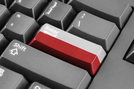 enter button: Enter button with Poland Flag Stock Photo