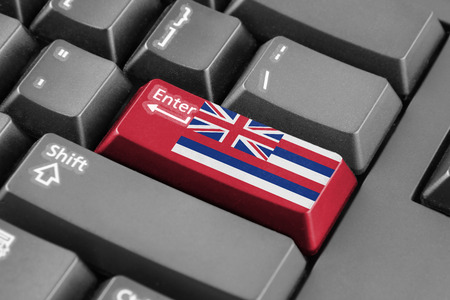 hawaii flag: Enter button with Hawaii Flag Stock Photo
