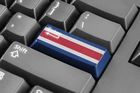 bandera de costa rica: Bot�n Enter con la bandera de Costa Rica Foto de archivo