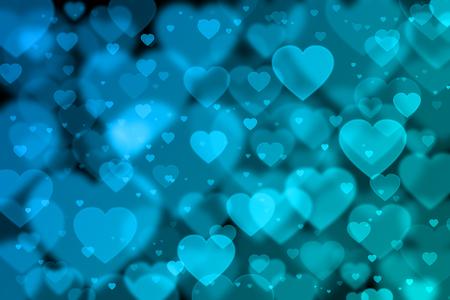 corazones azules: fondo azul con efecto bokeh corazones