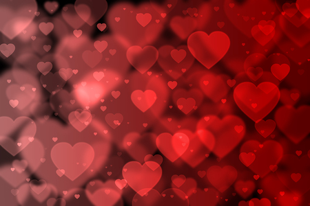 effect: Red hearts background with bokeh effect