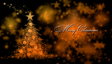 Merry Christmas. Background with a christmas tree and Merry Christmas Text Stock Photo