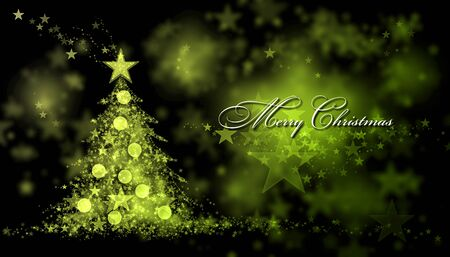 star ornament: Merry Christmas. Green and yellow background with a christmas tree and Merry Christmas Text Stock Photo