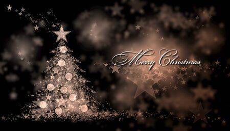 gold brown: Merry Christmas. Brown background with a christmas tree and Merry Christmas Text