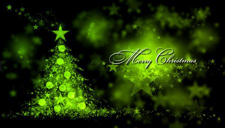 Fröhliche Weihnachten. Grüner Hintergrund mit einem Weihnachtsbaum und Merry Christmas Text