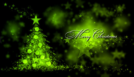 christmas tree ornaments: Merry Christmas. Green background with a christmas tree and Merry Christmas Text
