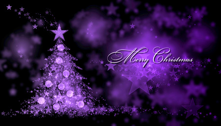 purple stars: Merry Christmas. Purple background with a christmas tree and Merry Christmas Text