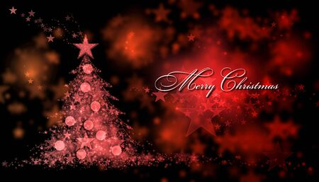 Merry Christmas. Red background with a christmas tree and Merry Christmas Text