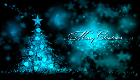 Merry Christmas. Blue background with a christmas tree and Merry Christmas Text