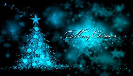 blue christmas lights: Merry Christmas. Blue background with a christmas tree and Merry Christmas Text