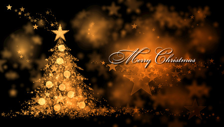 christmas tree ornaments: Merry Christmas. Golden background with a christmas tree and Merry Christmas Text
