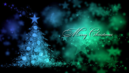 written text: Merry Christmas. Blue and green background with a christmas tree and Merry Christmas Text