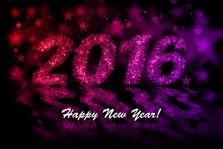 estrellas moradas: Feliz Año Nuevo 2016 Estrellas rojas y moradas de fondo con efecto bokeh Foto de archivo