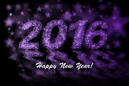 purple stars: Happy New Year 2016. Purple stars background with bokeh effect
