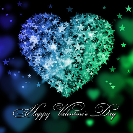green heart: Happy Valentines Day. Blue and green heart with the stars Stock Photo