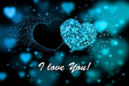 corazones azules: Te quiero. fondo azul con efecto bokeh corazones