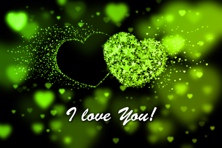 Ich liebe dich. Grüne Herzen Hintergrund mit Bokeh-Effekt