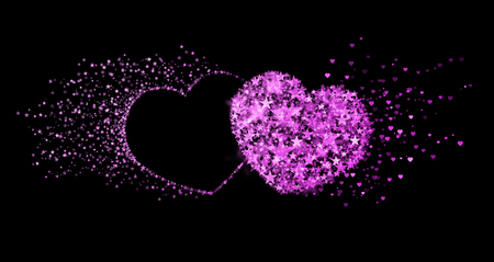 eternal: Two pink hearts on black background. Concept of eternal love Stock Photo