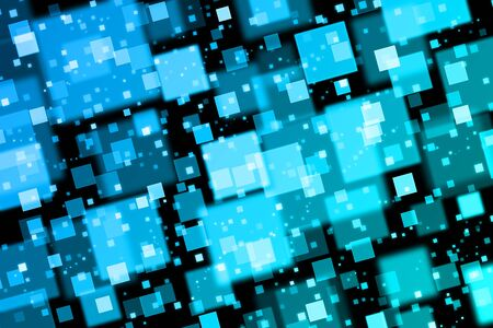 quadrat: Blue squares. Abstract  background with bokeh effect Stock Photo