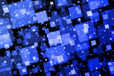 quadrat: Blue squares. Abstract background with bokeh effect
