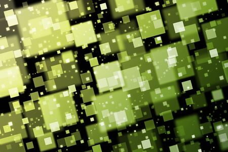 quadrat: Green and yellow squares. Abstract  background with bokeh effect