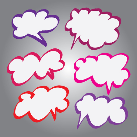 changed: Collection of Comic Style Bubbles in Vector Format. Color can be changed by one click Illustration