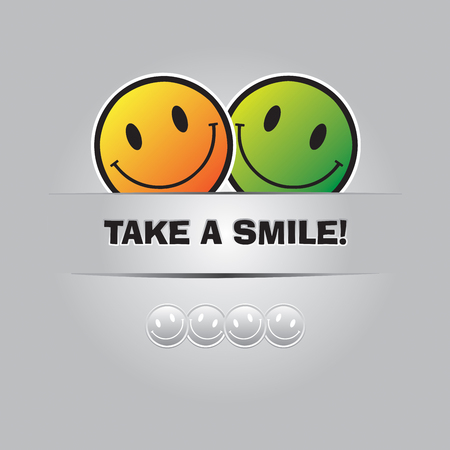 take a smile: Take a smile. Funny greeting card in Vector Format Illustration