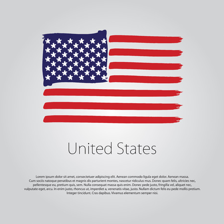 États-Unis Drapeau avec des lignes dessinées à la main de couleur dans Vector Format Vecteurs