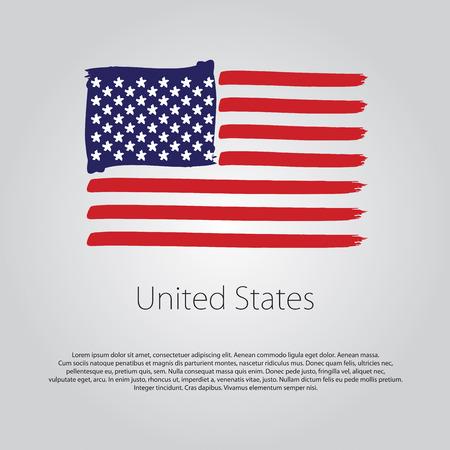 Flagge der Vereinigten Staaten mit farbigen Hand gezeichneten Linien im Vektor-Format Vektorgrafik
