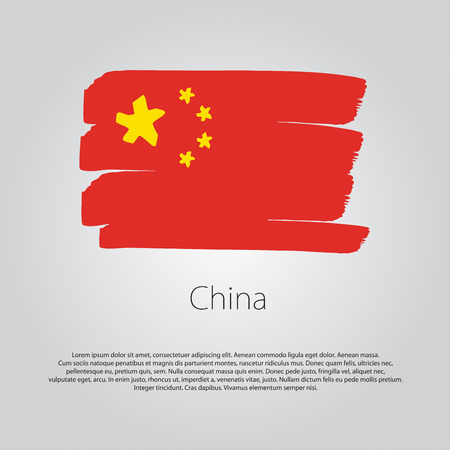 far east: China Flag with colored hand drawn lines in Vector Format