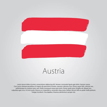 austria: Austria Flag with colored hand drawn lines in Vector Format