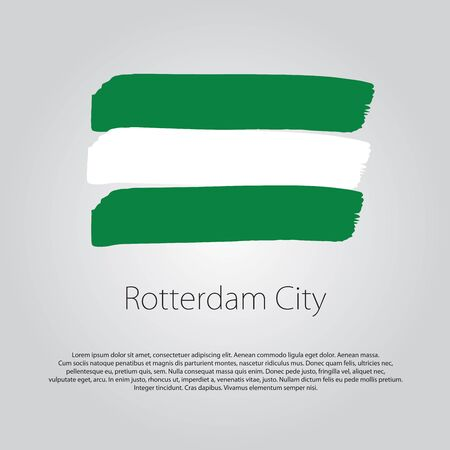 rotterdam: Rotterdam City Flag with colored hand drawn lines in Vector Format Illustration