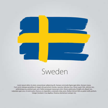 sweden flag: Sweden Flag with colored hand drawn lines in Vector Format
