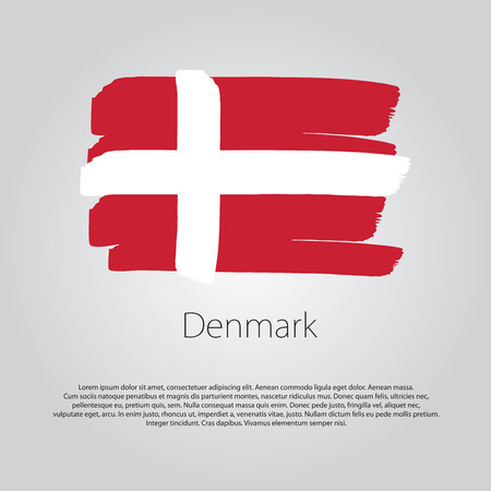 denmark flag: Denmark Flag with colored hand drawn lines in Vector Format