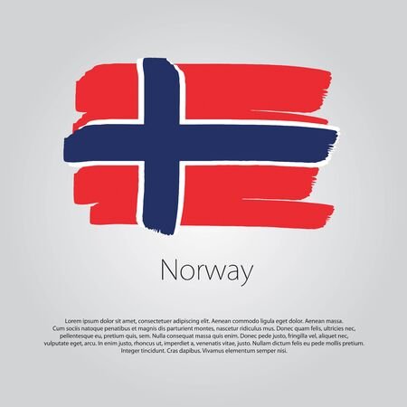 norway flag: Norway Flag with colored hand drawn lines in Vector Format