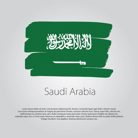 Saudi Arabia Flag with colored hand drawn lines in Vector Format